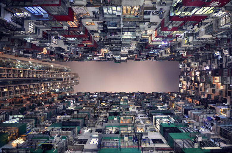 Hong Kong's skyscrapers from the ground floor, Hong Kong - 03 May 2013