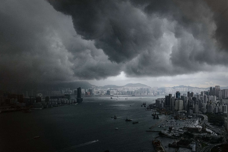 Storm clouds build up over Victoria harbour, Hong Kong