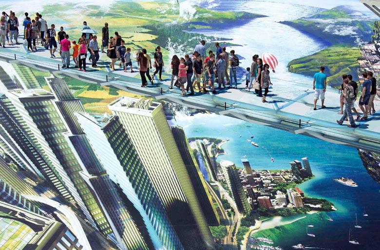 People walk on a giant 3D street art work by Francois Abelanet